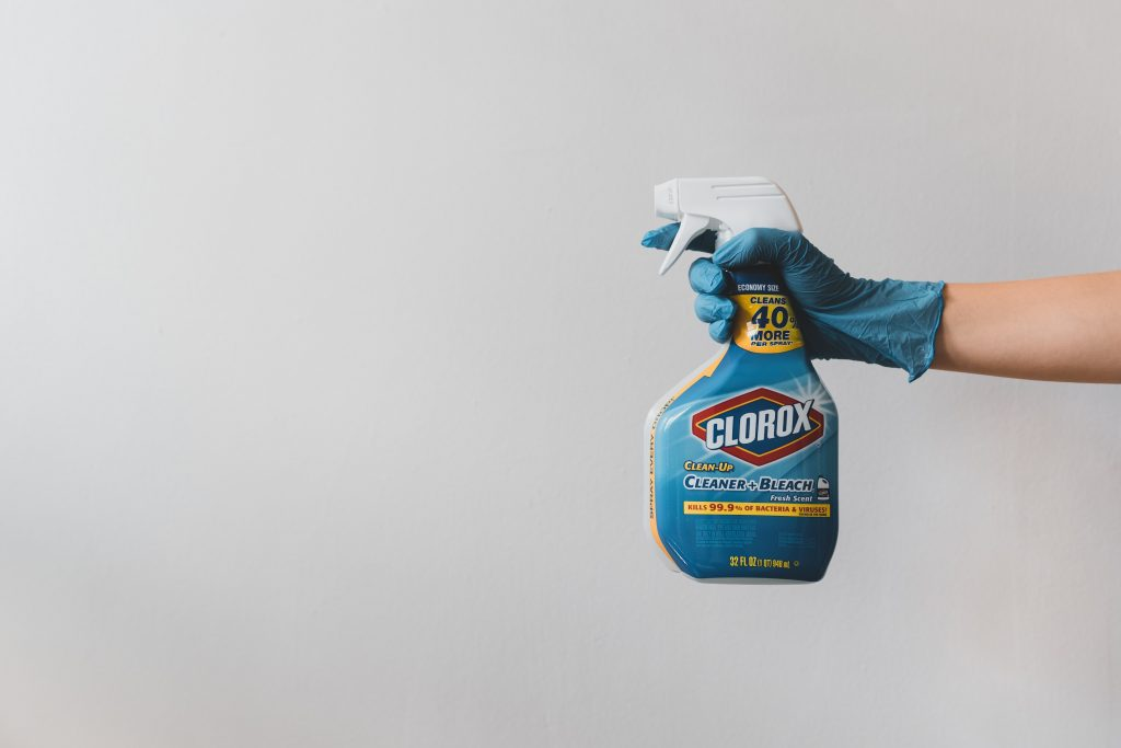 A spray bottle of Clorox Cleaner & Bleach