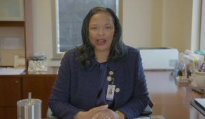 Denise Crawford, President and CEO of Family Health Center, announces COVID-19 testing on a video Wednesday, April 15, 2020.