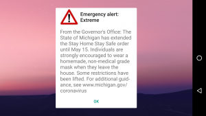 Smart phone emergency alert screen