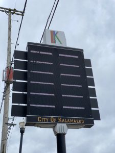 """A sign that reads """"city of Kalamazoo"""""""