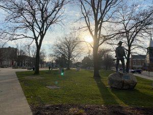 A statue in Bronson Park in Kalamazoo.
