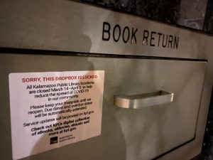A closed book return chute at the Kalamazoo Public Library