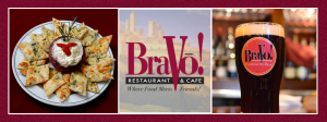 Bravo! restaurant logo and pictures of food