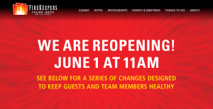 """a screenshot of casino website that reads """"We are reopening June 1 at 11 am"""""""