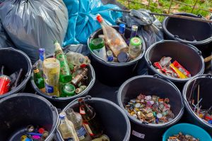empty cans and bottles ready for recycling