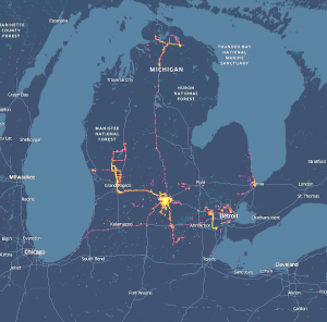 map of Michigan showing where Lansing protestors may have travelled