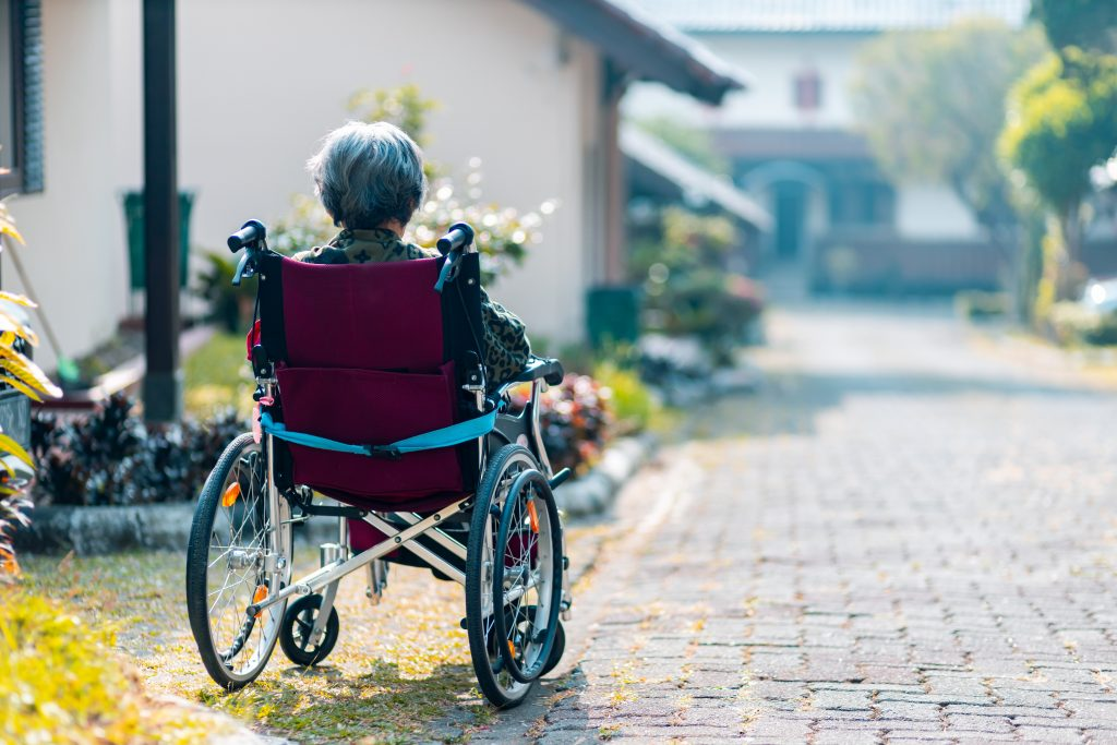 a woman in a wheelchair with her back to the camera