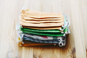 A stack of homemade facemasks