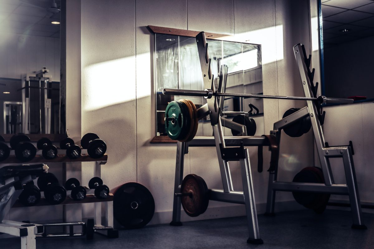 a gym with weights