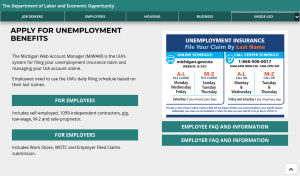 a screenshot of the homepage for the Michigan unemployment insurance agency