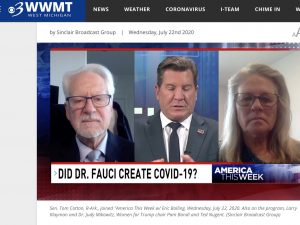 A screenshot from a syndicated program giving prominence to a discredited COVID-19 conspiracy theory on WWMT's website.