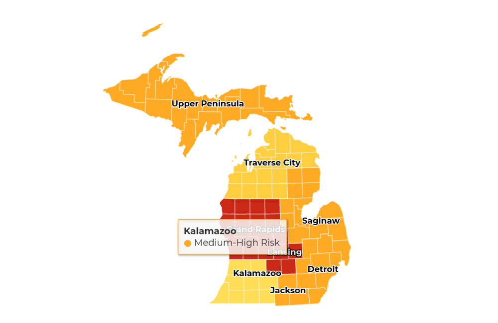 """a map with the Kalamazoo area labeled """"medium-high risk"""""""