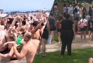 a split image: partiers on a beach next to protesters in a park