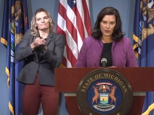Governor Whitmer and a sign language interpreter