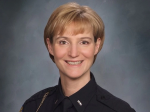a woman in a police uniform