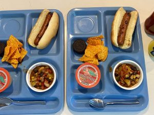 A pair of school lunch trays with hotdogs, chips, and other foods