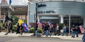 The Proud Boys group supporters march toward Bronson Park on Aug. 16, 2020.(STAFF/NowKalamazoo)