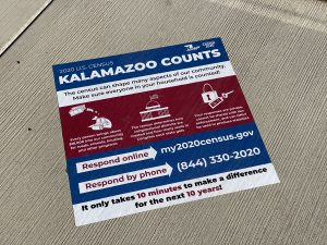 """A decal reads """"2020 US Census - Kalamazoo Counts"""""""