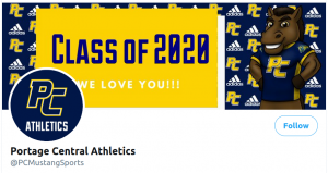 A screenshot of the Twitter header for Portage Central Athletics