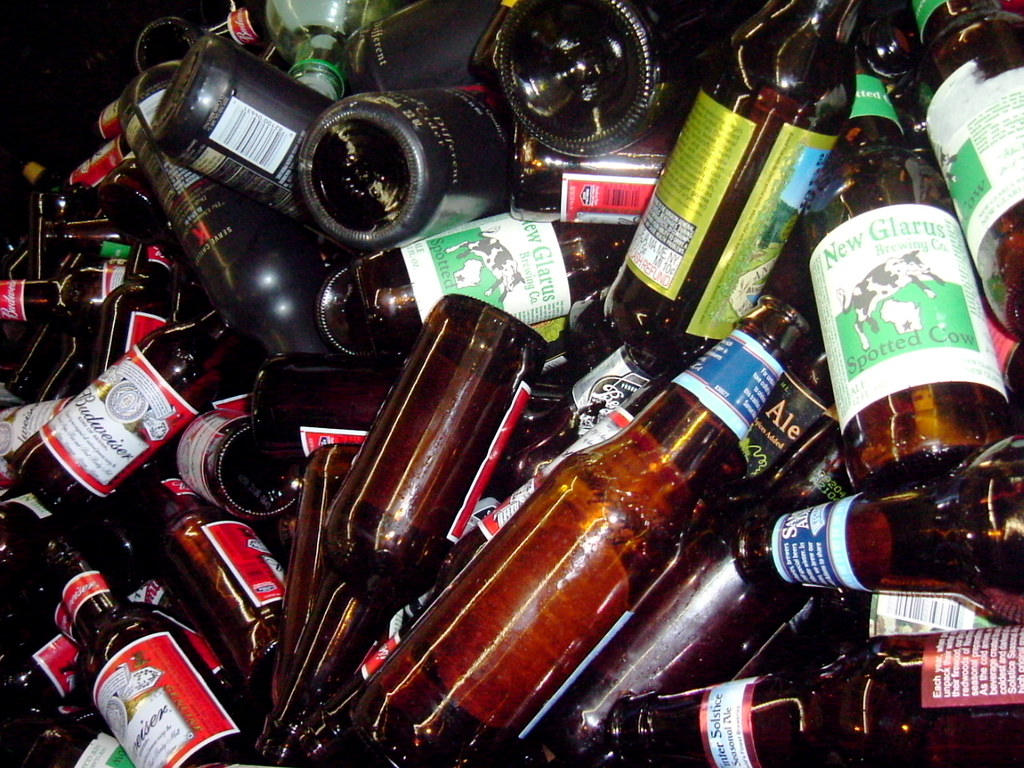 brown glass beer bottles for recycling