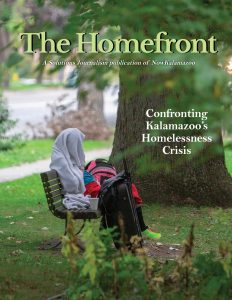 "A magazine cover. The title reads ""The Homefront."" The subhead reads ""Confronting Kalamazoo's Homelessness Crisis."""