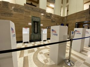 several voting stations inside Kalamazoo City Hall