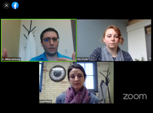 Three people in a Zoom meeting