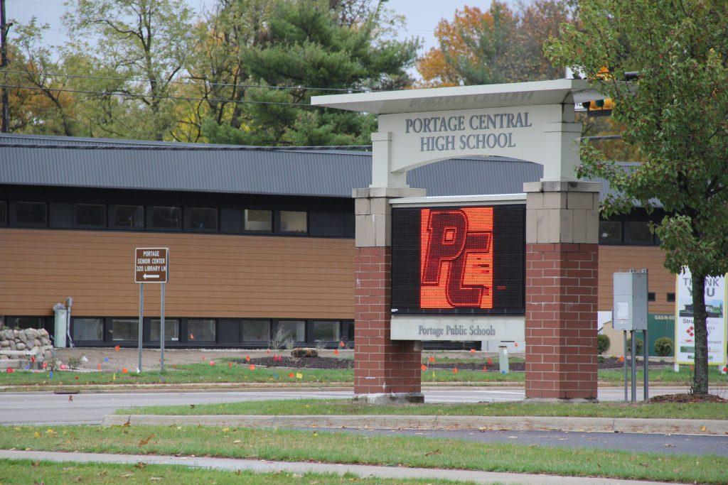 Portage Central High School sign
