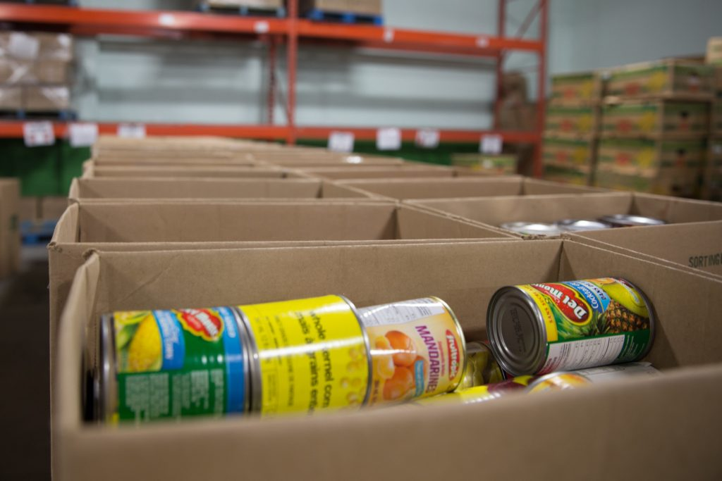 boxes full of canned foods