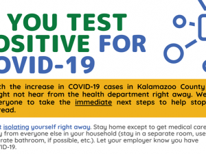 an image from a county flyer telling people what to do if they test positive for COVID-19