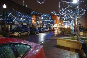 a street in Kalamazoo with Christmas lights