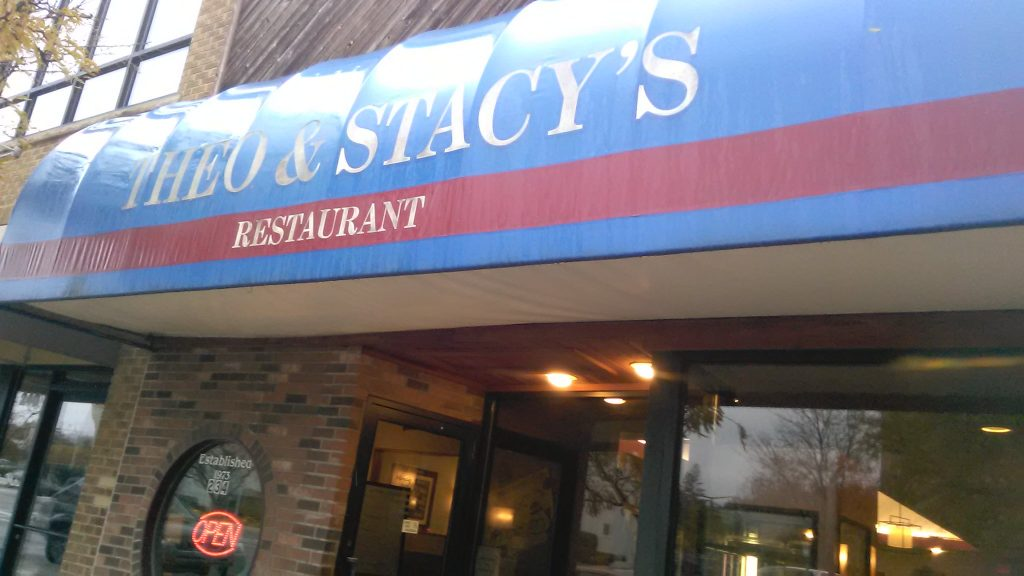 the awning of Theo & Stacy's Restaurant in Kalamazoo