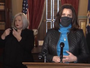 Governor Gretchen Whitmer during a press conference