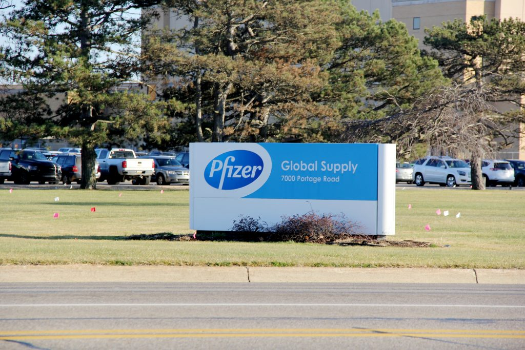 a sign for Pfizer Global Supply