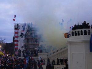 Smoke on the U.S. Capitol steps