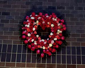 A heart-shaped floral wreath