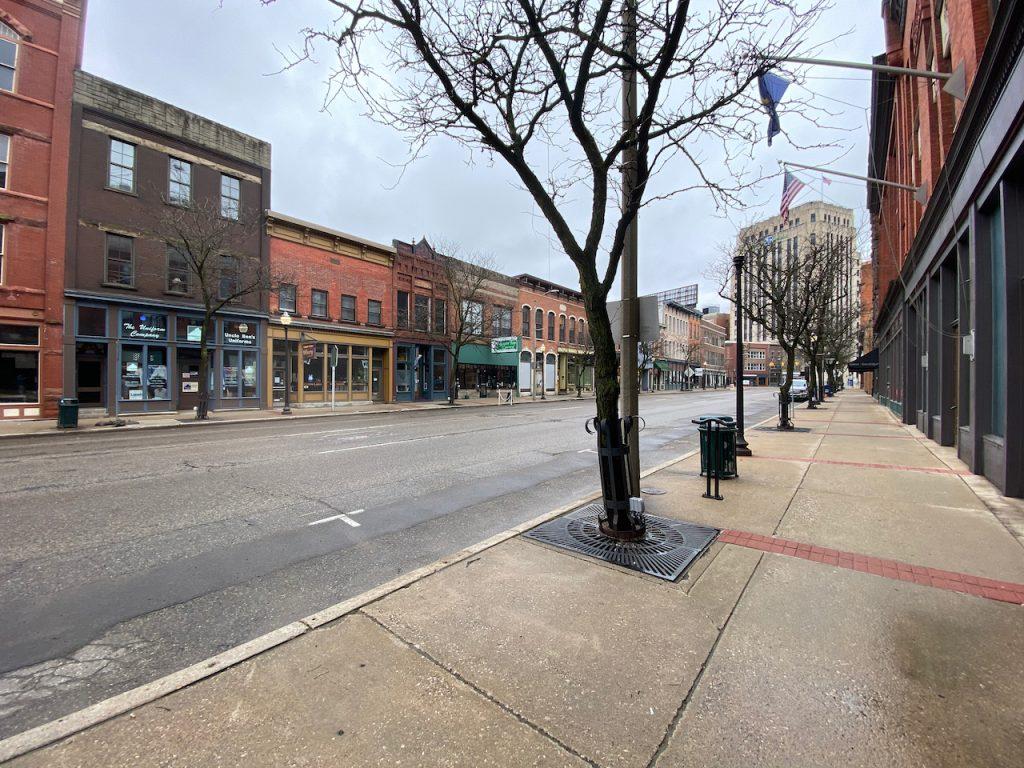 an empty street in Kalamazoo