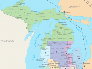 a map showing Michigan's congressional districts