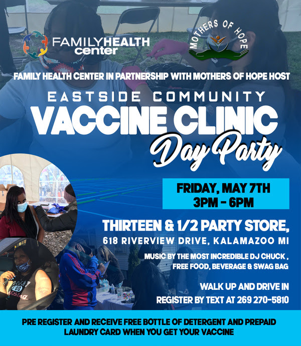 a flyer for a COVID-19 vaccination clinic on May 7, 2021
