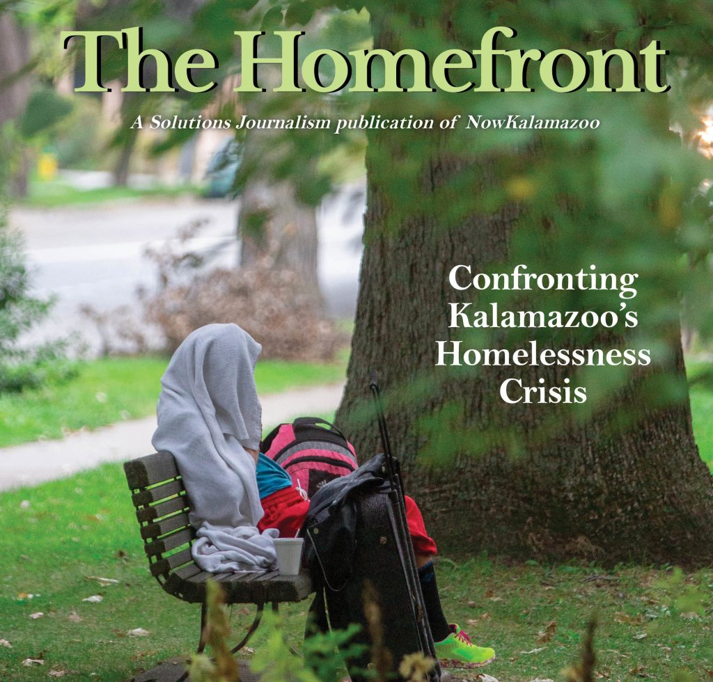 """A magazine cover. The title reads """"The Homefront."""" The subhead reads """"Confronting Kalamazoo's Homelessness Crisis."""""""