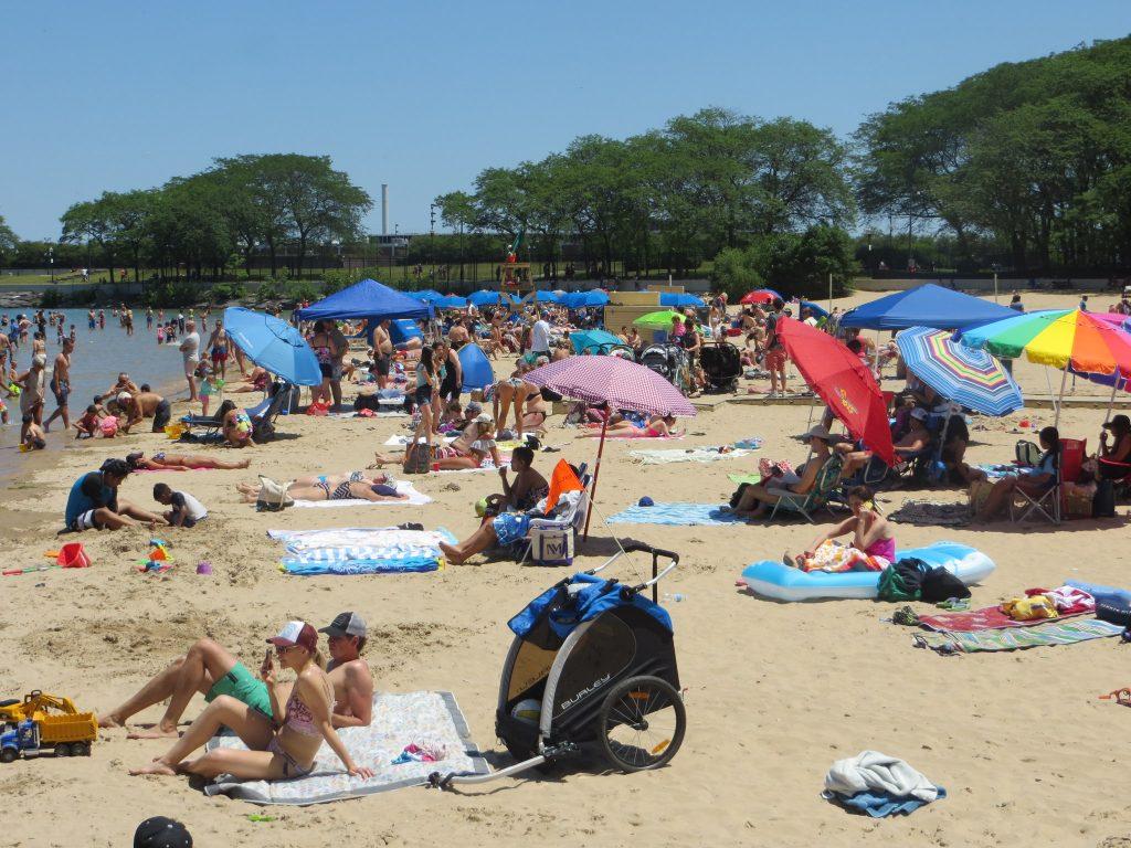 a crowd on a beach