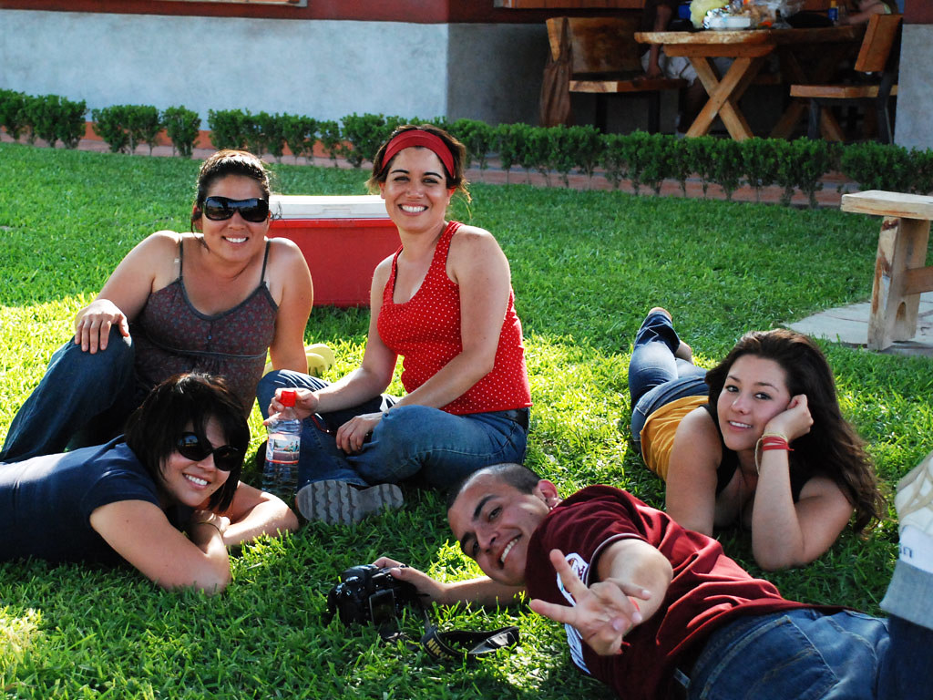 a group of young people lounging on the grass