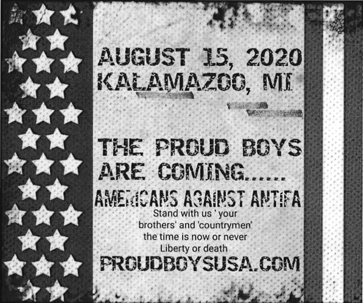 """Facebook post reads """"The proud boys are coming. Americans against antifa"""""""