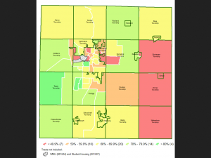 map showing vaccination rates in different parts of Kalamazoo County