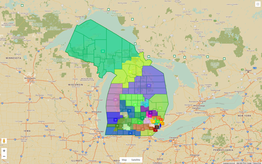 a map of Michigan showing state senate districts