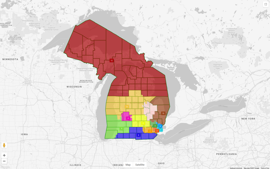 a map of Michigan showing proposed U.S. Congressional districts