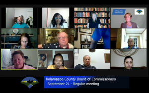 a screen capture of a Kalamazoo County Commission virutal meeting