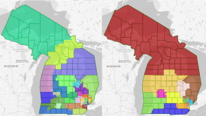 Two draft maps of Michigan voting districts